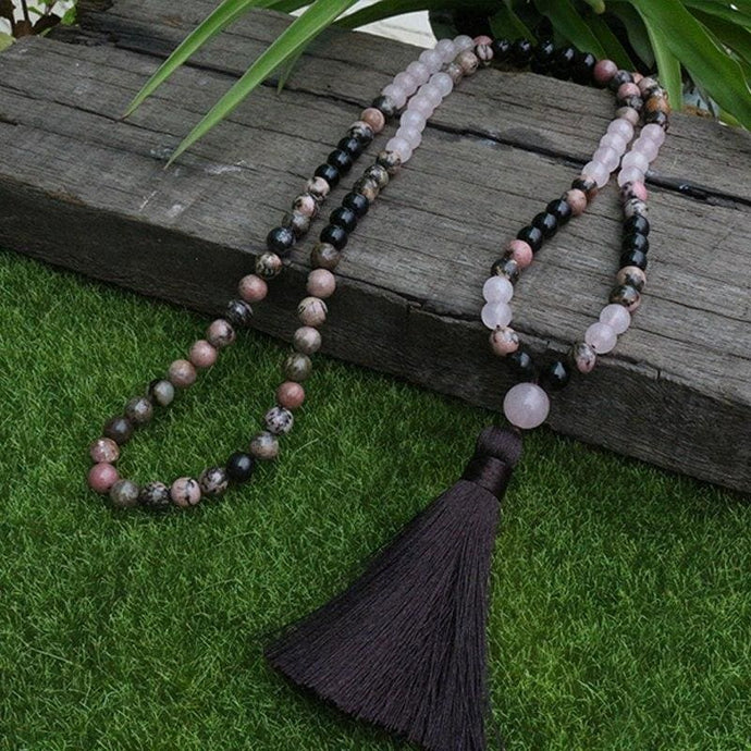 Rhodonite And Black Tourmaline 108 Bead Mala - Necklace