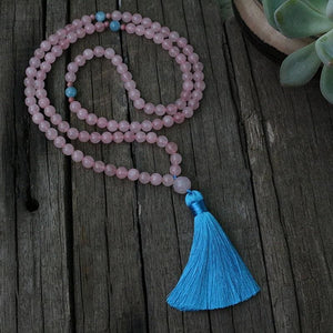 Rose Quartz and Blue Aragonite Mala Necklace - Necklace