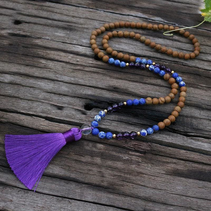 Sandalwood and Amethyst Necklace - Necklace