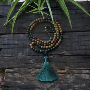 Sandalwood And Moss Agate Necklace - Necklace