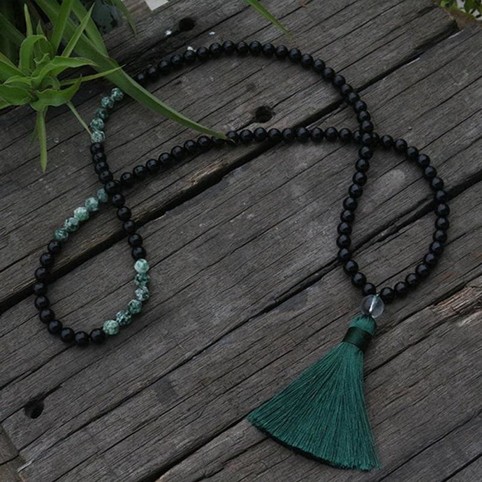 Seraphinite and Jet Mala Necklace - Necklace