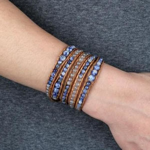 Sodalite and Lemurian Seed Crystal Leather Wrap Bracelet - Wrap Bracelet