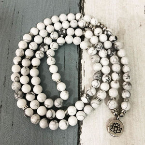 Solace And Repose Providing Howlite And White Turquoise Stone Mala Necklace/Bracelet - Malas