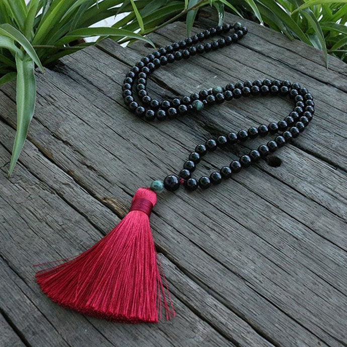 Strength And Courage Black Onyx And Tree Agate Necklace - Necklace