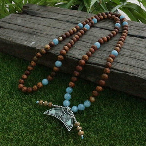 Strengthen Courage Petrified Wood & Blue Chalcedony Necklace - Necklace