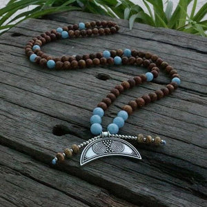 Strengthen Courage Petrified Wood & Blue Chalcedony Necklace - Antique Bronze Plated / Brown / 83cm - Necklace