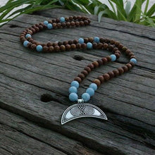 Strengthen Courage Petrified Wood & Blue Chalcedony Necklace - Antique Copper Plated / Brown / 83cm - Necklace