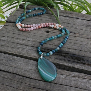 Sunstone Blue green fluorite stilbite Rhodochrosite and pink calcite Necklace - Necklace