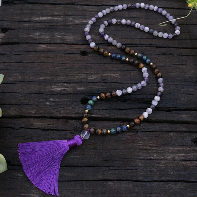 The Simple Truth Amethyst Chrysocolla And Tiger Eye Necklace - Necklace