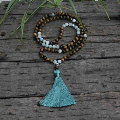 Tiger Eye and Aquamarine Mala Necklace - Necklace