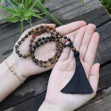 Tiger Eye And Black Tourmaline 72 Mala Necklace