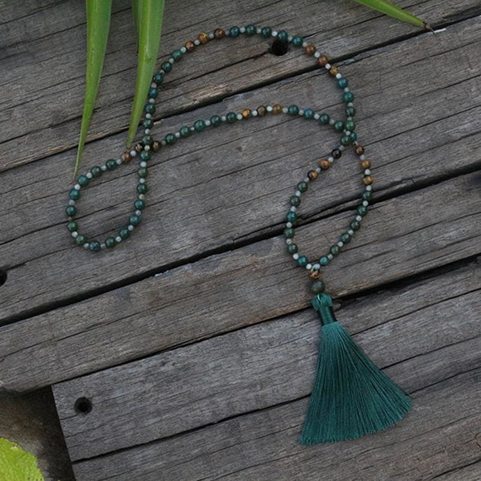 Tiger Eye and Moss Agate Mala Necklace - Necklace