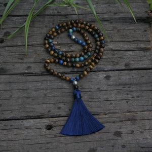 Tiger Eye & Azurite Malachite Mala Necklace - Necklace