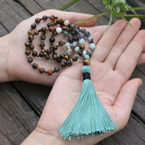 Tiger Eye Moss Agate and Amazonite Necklace - Necklace