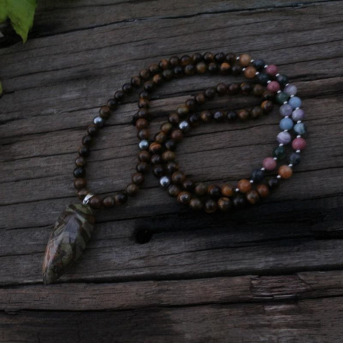 Tiger Eye Rhodrochrosite Sunstone Lavender Amethyst and Ching Hai Jade Necklace - Necklace