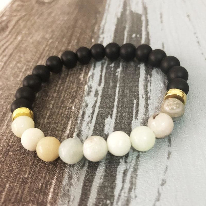 Truth And Integrity Promoting Onyx And Amazonite Mens Bracelet