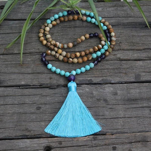 Turquoise Picture Jasper and Amethyst Yoga Necklace - Necklace