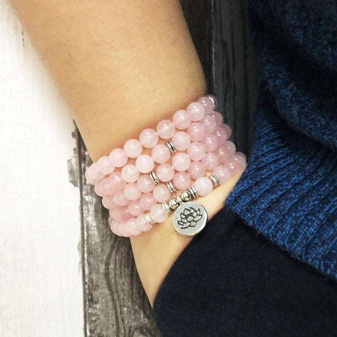 Unconditional Love Rose Quartz Crystal Necklace/bracelet - Malas