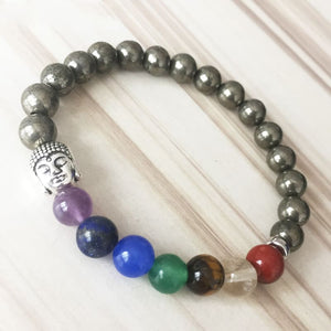 Vitality And Action Inducing Pyrite 7 Chakra Bracelet - Bracelets