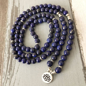 Wisdom and Truth Enhancing Lapis Lazuli Mala Bracelet/Necklace - Malas