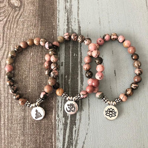 Yoga Beaded Rhodonite Bracelet - Bead Bracelets