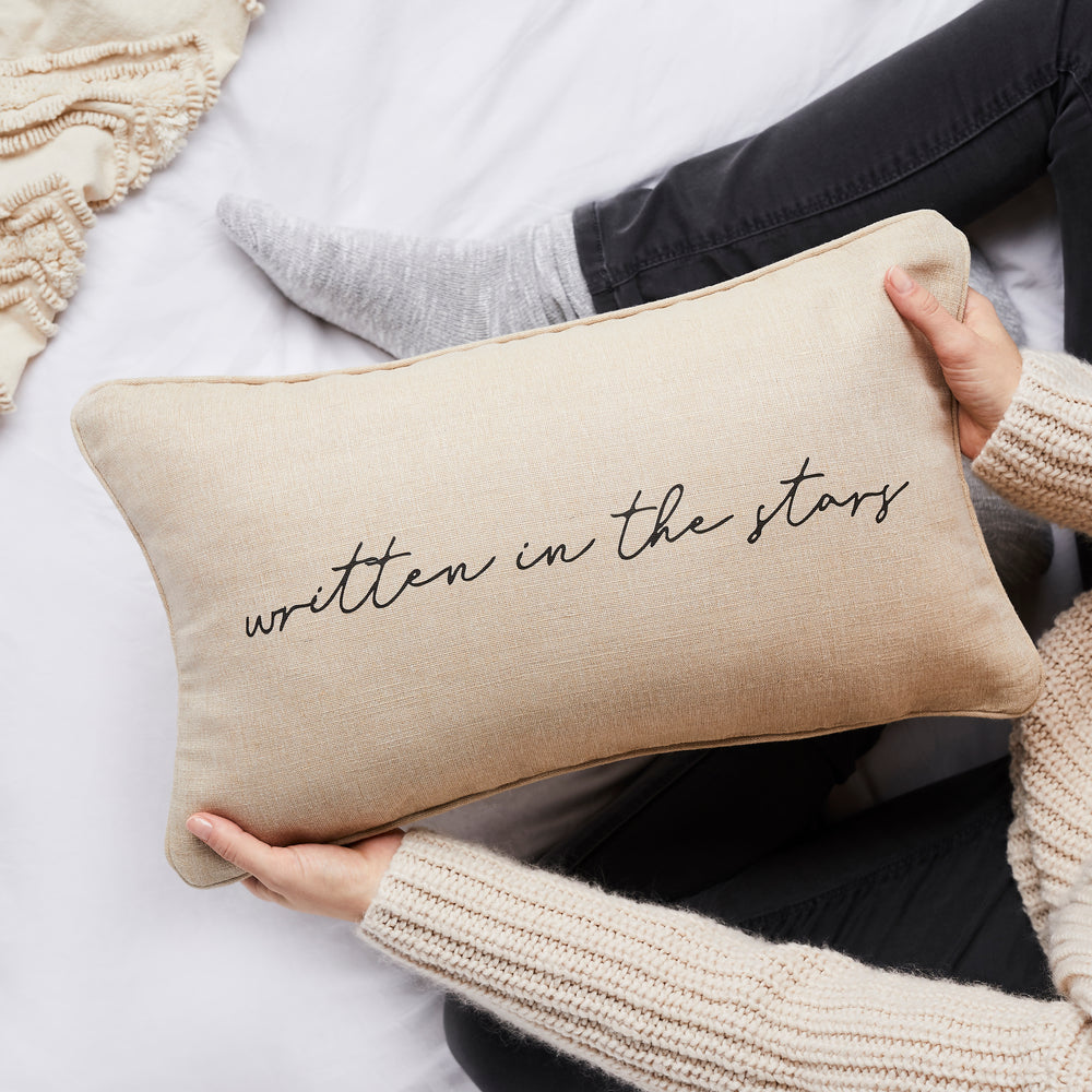 Written in the stars linen cushion