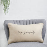 Love yourself linen cushion