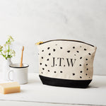 Monogrammed dot printed canvas pouch