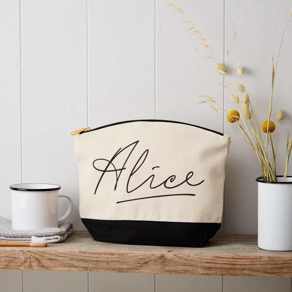 Personalised Name Black And Natural Canvas Pouch