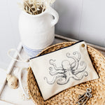 Octopus nautical canvas pouch