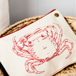 Crab nautical canvas pouch