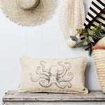 Octopus linen boudoir cushion