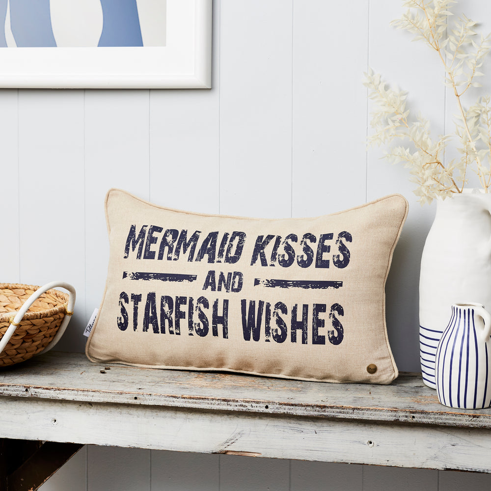 Mermaid kisses linen boudoir cushion