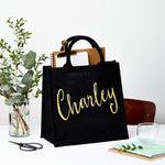 Square Jute Gift Bag - Black