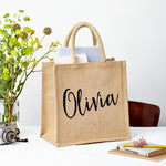 Square Jute Gift Bag - Natural