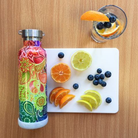 Preparation fruit infused water with lemon, orange and blueberries