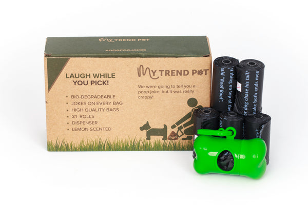 Dog Poop Bags My Trend Pet. 252 bags, 21 Rolls, Biodegradable, Lemon Scented Doggy Waste Bags With Jokes Printed On Every Bag. Suitable for Adult Dog and Puppy Poo. Sturdy Dispenser Included.