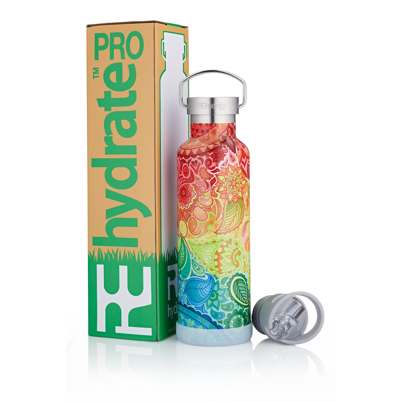 Rehydrate Pro (Zen 25oz) Double-Insulated Stainless Steel Water Bottle - for Hot or Cold Drinks