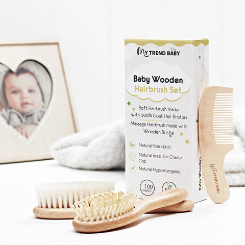 Baby Hair Brush and Comb Set of 3 MyTrendBaby. Soft Goat Bristles for Cradle Cap Treatment in Newborns, Babies, Toddler and Children. Natural Wood, No BPA, Baby Shower Present.