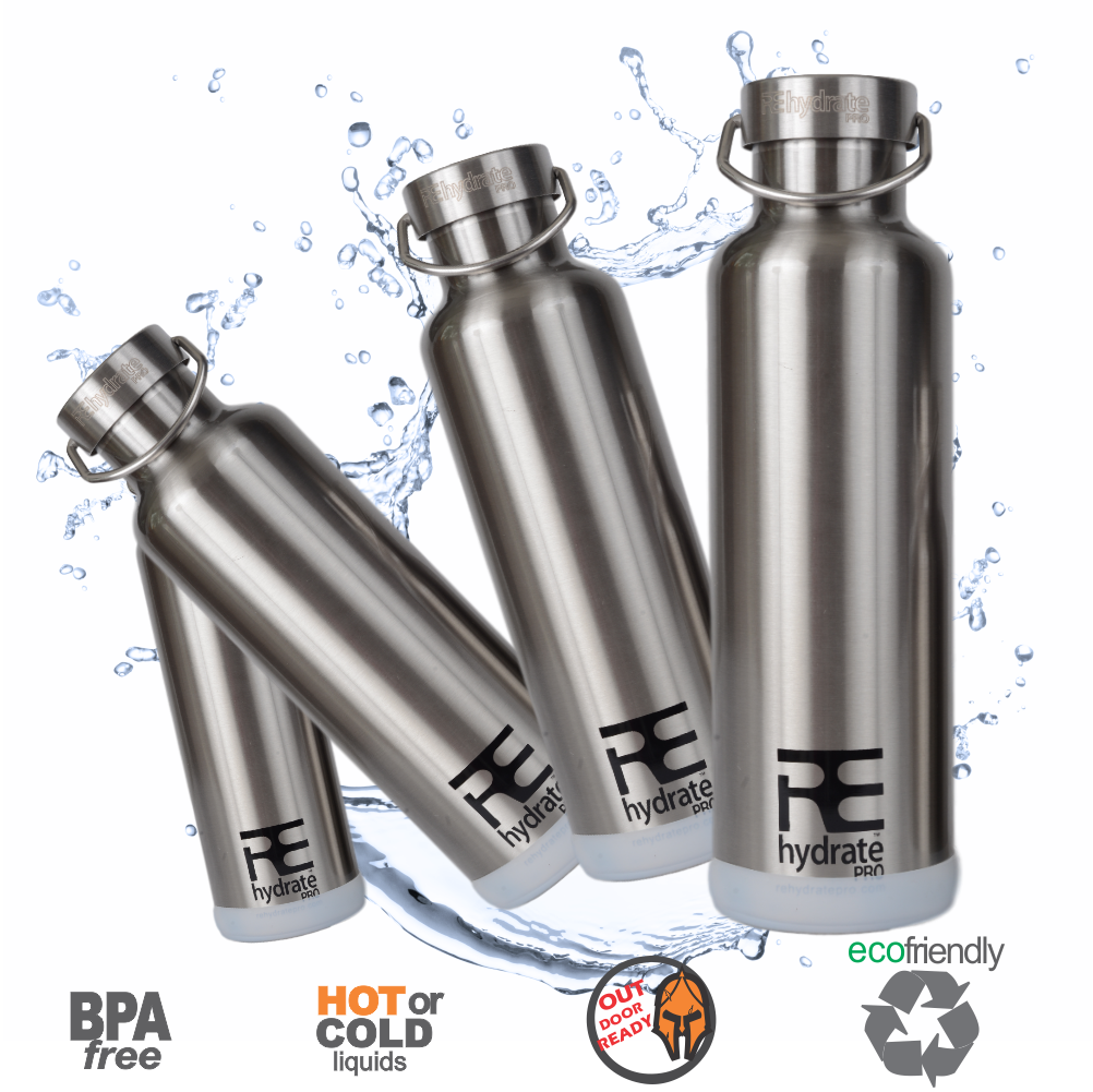 Rehydrate Pro (Chrome 25oz) Double-Insulated Stainless Steel Water Vacuum Bottle Flask