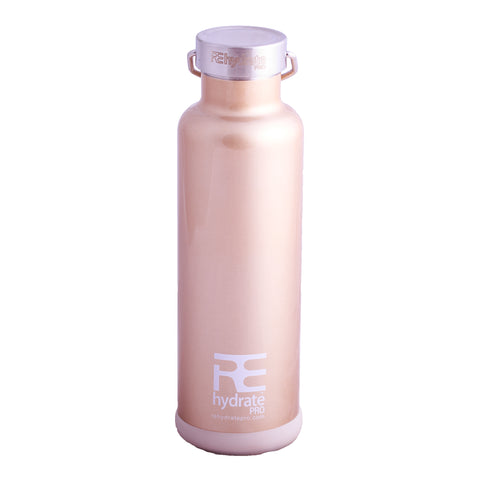 Rehydrate Pro (Champagne 25oz) Double-Insulated Stainless Steel Water Vacuum Bottle Flask