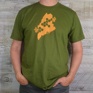 Unisex Short Sleeve Green Shirt - Maine State Honey Bee