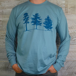 Organic Cotton Light Blue Long Sleeve Unisex Shirt - Woodland Trees