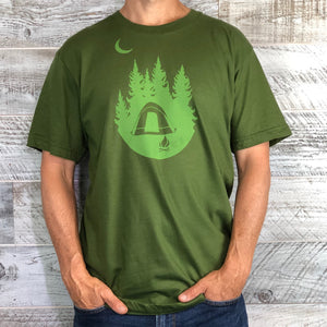 Unisex Short Sleeve Tee Shirt Green - Camping Under the Moon