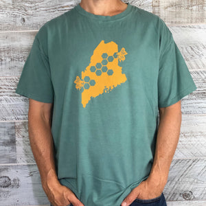 Short Sleeve Sage Green Maine State Bee Shirt