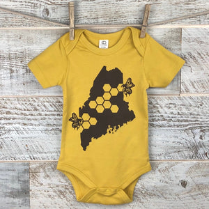 Colored Organic Cotton Onesie Short Sleeve Dijon Yellow - Maine State Honey Bee