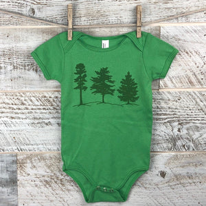 Tree Onesie Short Sleeve in Lime Green