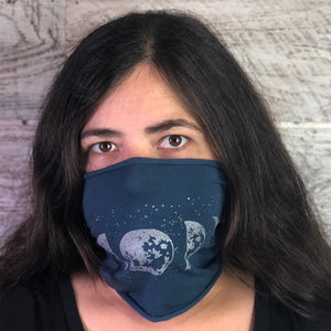 Moon Phase Headband Face Cover - Blue