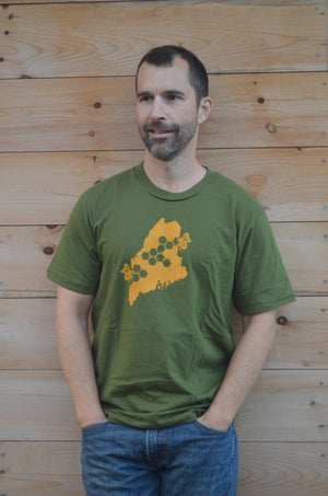 Short Sleeve Shirt Olive Green T Shirt Womens Mens Silkscreened Maine State Honeycomb Honey Bee Tee Shirt