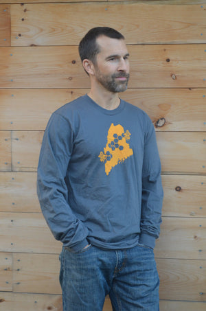 Unisex Long Sleeve Grey Shirt - Maine State Honey Bee
